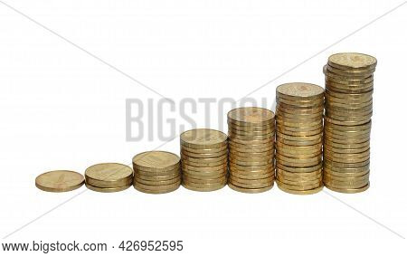 Russian Ten Coin Rubles Isolated On A White Background.