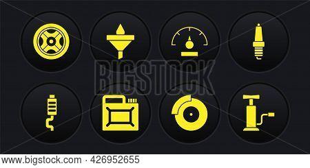 Set Car Muffler, Spark Plug, Canister For Motor Oil, Brake Disk With Caliper, Speedometer, Funnel An