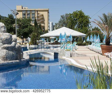 Golden Sands, Bulgaria - June 02, 2015: Sea Promenade On Golden Sands Resort, Golden Sands, Bulgaria