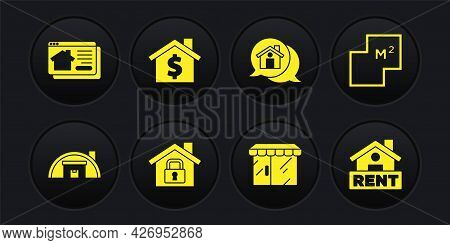 Set Warehouse, House Plan, Under Protection, Market Store, Real Estate Message, With Dollar Symbol,