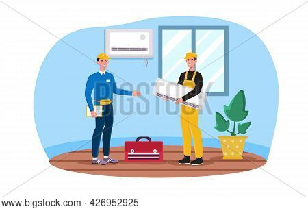 Installation Of Air Conditioners Concept. Workers In Suits And Helmets Are Installing Air Conditioni