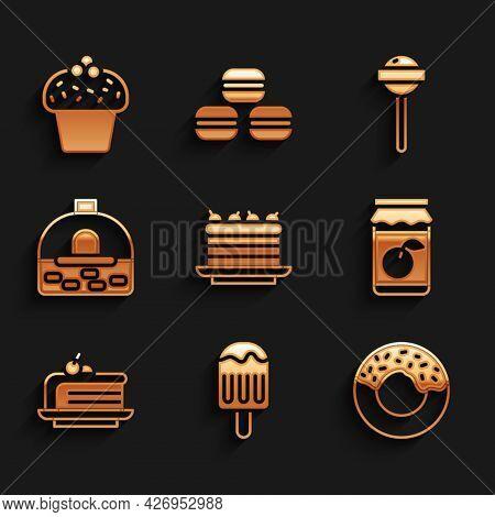 Set Cake, Ice Cream, Donut, Jam Jar, Piece Of Cake, Brick Stove, Lollipop And Icon. Vector