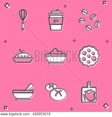 Set Kitchen Whisk, Coffee Cup To Go, Beans, Homemade Pie, Flour Bowl, Cookie Or Biscuit, Mortar And