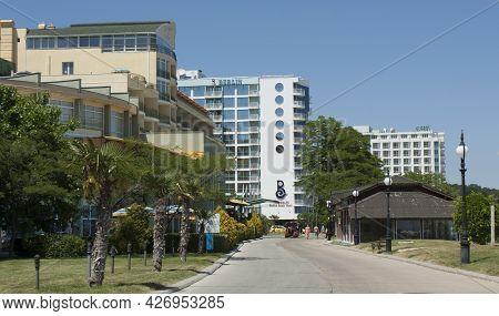 Golden Sands, Bulgaria - June 02, 2015: Hotels On Sea Promenade In Golden Sands Resort, Golden Sands