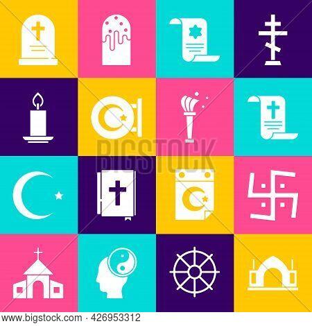 Set Hindu Spiritual Temple, Swastika, Decree, Paper, Parchment, Scroll, Torah, Star And Crescent, Bu