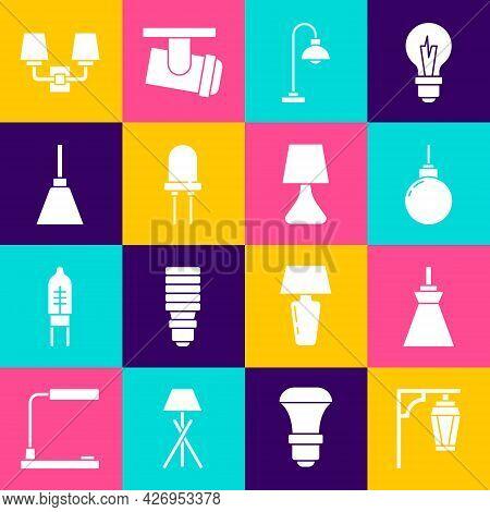 Set Vintage Street Light, Lamp Hanging, Floor Lamp, Light Emitting Diode, Chandelier, Wall Sconce An