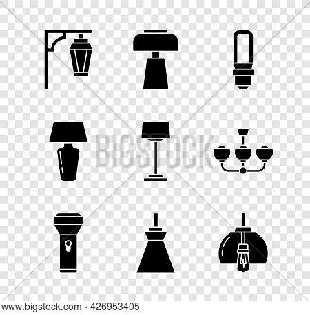 Set Vintage Street Light, Table Lamp, Led Bulb, Flashlight, Lamp Hanging, Chandelier, And Floor Icon