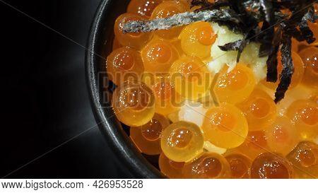 Ikura Roe. Salmon Ikura Roe Served With Rice And Top With Japanese Seaweed.