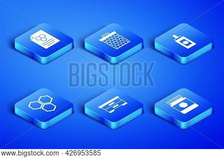 Set Jar Of Honey, Honeycomb, Hive For Bees, And Icon. Vector