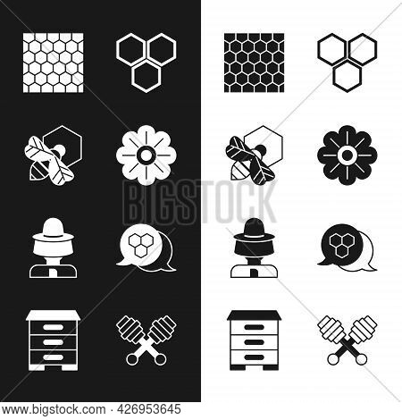 Set Flower, Bee And Honeycomb, Honeycomb, Beekeeper With Protect Hat, Dipper Stick And Hive For Bees