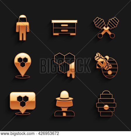 Set Honeycomb, Beekeeper With Protect Hat, Hive For Bees, Location, Dipper Stick And Icon. Vector