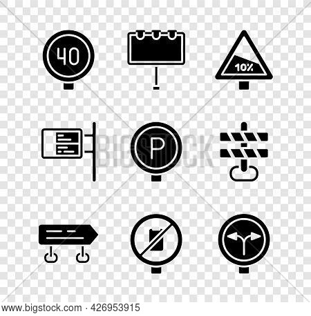 Set Speed Limit Traffic, Billboard With Lights, Steep Ascent And Descent Road, Road Sign, No Cell Ph