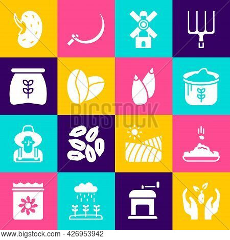 Set Plant In Hand, Seed, Bag Of Flour, Windmill, Coffee Beans, And Icon. Vector