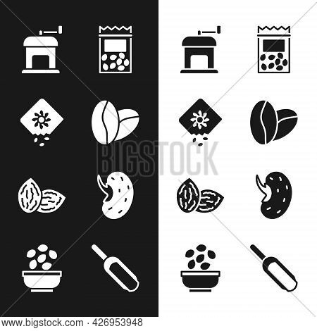 Set Coffee Beans, Pack Full Seeds Plant, Manual Coffee Grinder, Seed, Scoop Flour And Seeds Bowl Ico