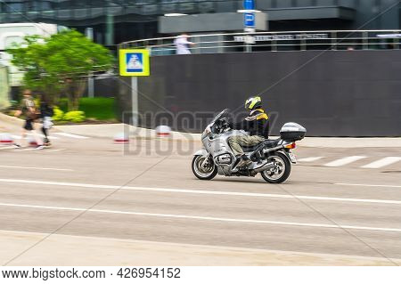 Moscow, Russia - May 2021: Bmw R 1150 Rt Touring Motorcycle Is Accelerating In Highway On Urban Back