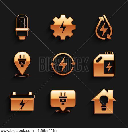 Set Recharging, Electric Plug, Smart House And Light Bulb, Eco Fuel Canister, Car Battery, Water Ene