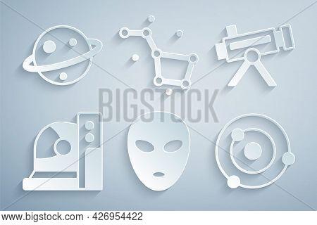 Set Alien, Telescope, Astronaut Helmet, Solar System, Great Bear Constellation And Planet Saturn Ico