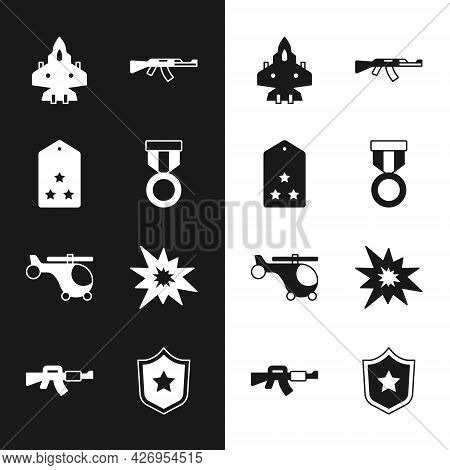 Set Military Reward Medal, Rank, Jet Fighter, Submachine Gun, Helicopter, Bomb Explosion, Police Bad