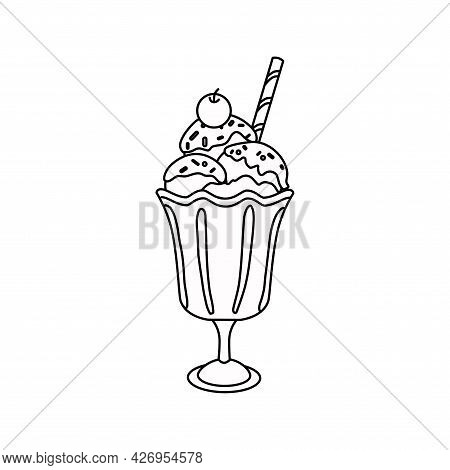 Ice Cream Dessert With Cherry Outline. The Icon. Vector Illustration.