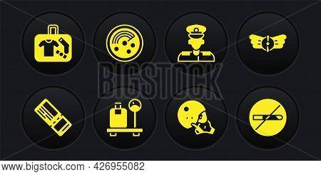 Set Airline Ticket, Aviation Emblem, Scale With Suitcase, Modern Pilot Helmet, Pilot, Radar Targets