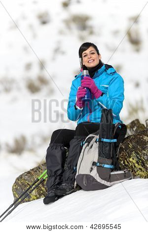 Woman Hiker Resting Drink