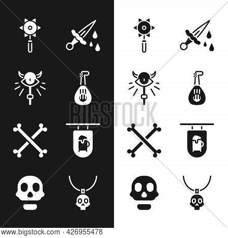 Set Lute, Magic Staff, Medieval Chained Mace Ball, Sword With Blood, Crossed Human Bones, Street Sig