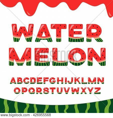 Watermelon Vector Latin Alphabet. Illustration With Summer English Letters And Watermelon Border.