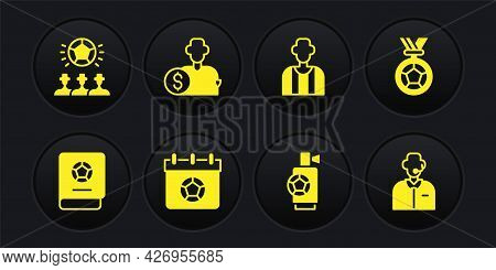 Set Football Learning Book, Or Soccer Medal, Calendar, Air Horn, Referee, Buy Football Player, Comme