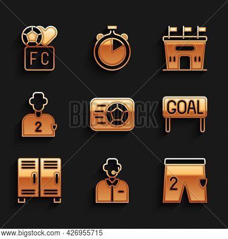 Set Soccer Football Ball, Football Or Soccer Commentator, Shorts For Playing, Goal, Locker Changing