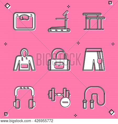 Set Bathroom Scales, Treadmill Machine, Uneven Bars, Hoodie, Sport Bag, Short Pants, Headphones And