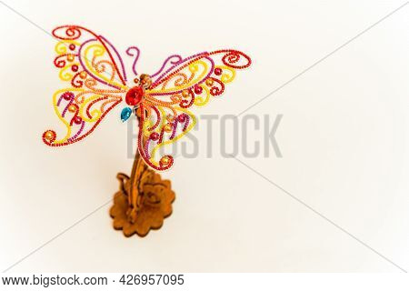 Diy. Embroidery. Beads. Handmade Work. Butterfly On A Wooden Stand