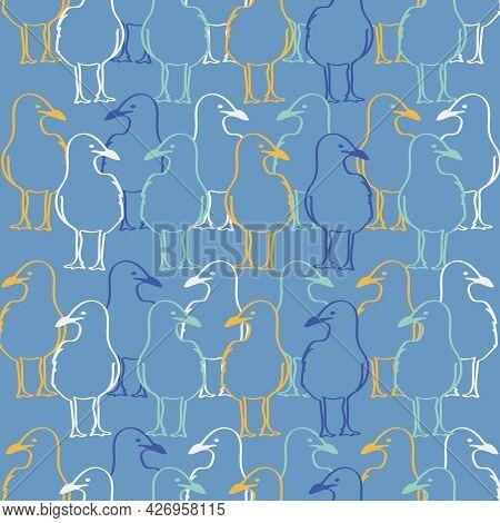 Yellow Blue Seagulls Watching Vector Seamless Pattern