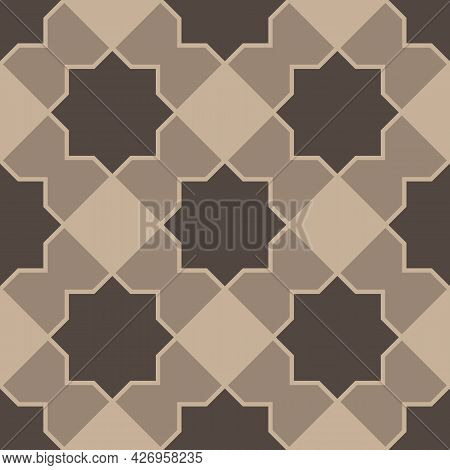 Seamless Pattern With Brown Eight Pointed Stars