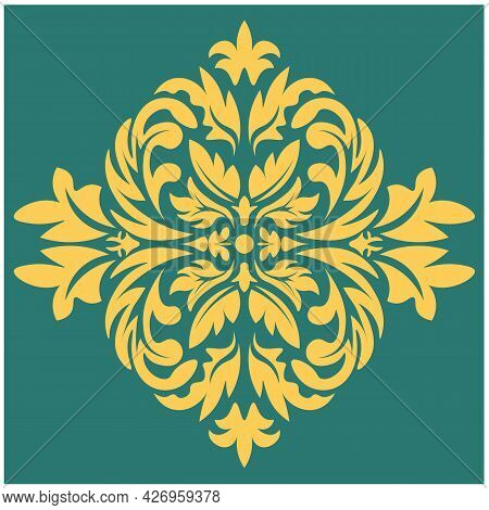 Damask Element In Classic Style On White Background. Royal Template. Silhouette Vector. Vector Patte