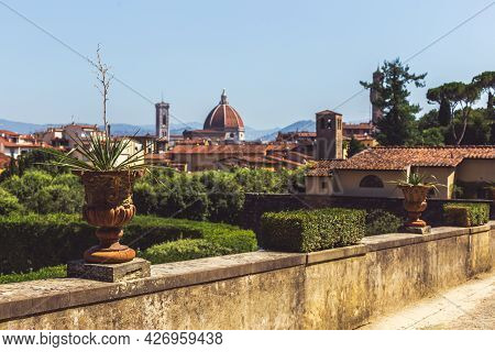 Amazing View Of Florence City From The Old Park, Italy. Beautiful Sunny Day.