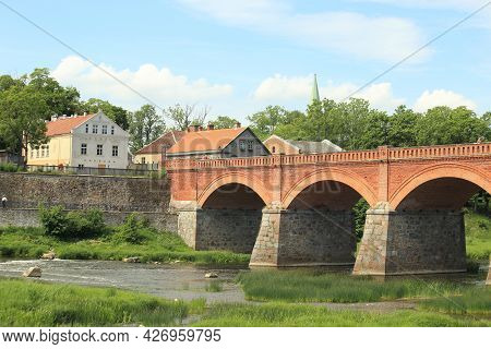 Old Bridge In A Medieval Town. High Quality Photo