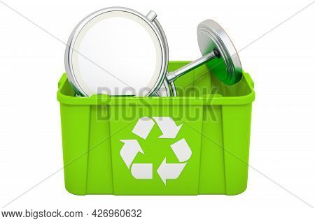 Recycling Trashcan With Led Illuminated Makeup Table Top Mirror With Magnifying, 3d Rendering Isolat