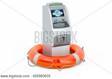 Atm Machine With Lifebelt, 3d Rendering Isolated On White Background
