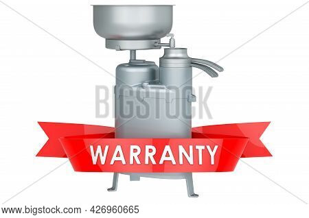 Milk Separator Warranty Concept. 3d Rendering Isolated On White Background