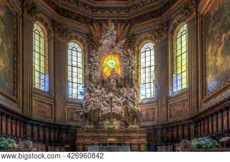 Naples, Italy - June 29 2021: Interior Of The Cathedral Santa Maria Assunta Or Duomo Of Naples