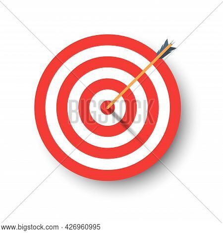 Archery Target With Arrow And Shadow. Template Design For Competition Winning, Goal Achievement, Vic