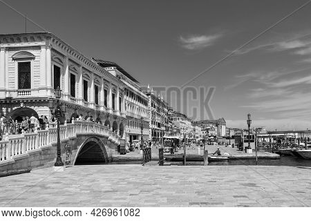 Venice, Italy - July 1, 2021: People Visit San Marco Square With San Markos Cathedral And Doges Pala