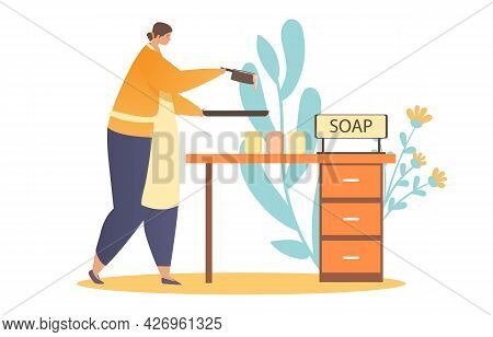 Making Soap Concept. Woman Holds A Frying Pan And Pours The Soap Mixture Into A Special Mold. A Home