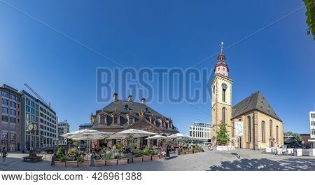 Frankfurt, Germany - June 13, 2021: Skyline Of Frankfurt Am Main At Hauptwache, The Central Square A