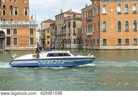 Venice, Italy - July 8, 2021: The Canale Grande In Venice Is Under Under Special Observation By Poli