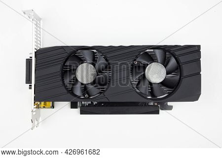 Card, Video, Graphics. Game Graphics Card On White Background. Electronic Device Or Computer Part, C