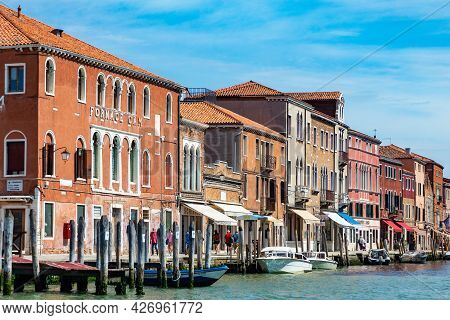 Murano, Italy - July 1, 2021: Panoramic View To Canal In Murano, The Island Of Venice With Historic