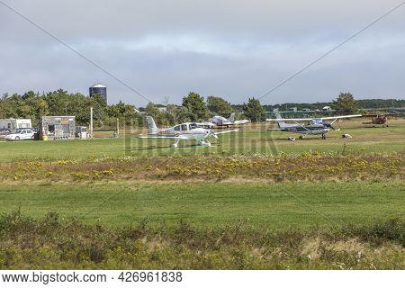 Edgartown, Usa - September 25, 2017: Small Airfield At Edgartown At The Island Of Martha's Vineyard,