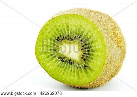 Cut Kiwi Fruit Isolated On White Background, Three Kiwi Fruit, Close Up.