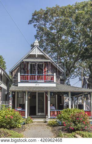 Martha's Vineyard, Usa - September 26, 2017: Carpenters  Cottages Wcalled Gingerbread Houses  On Lak